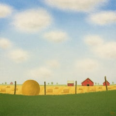 Bales in a Summer Field, Original Painting