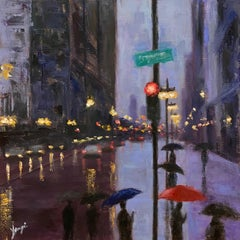 The Umbrellas on Michigan Ave, Oil Painting