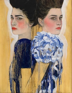 Girls in Blue, Oil Painting