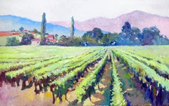 Vineyards, Early Summer Morning, California, Oil Painting