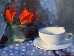Red Roses White Cup, Oil Painting