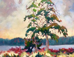 Fir with Lupine, Oil Painting