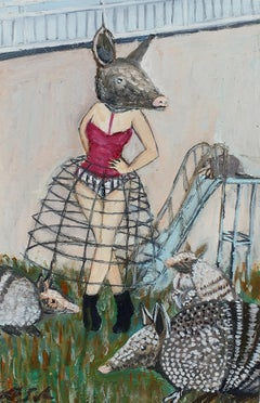 Hanging out with Armadillos, Oil Painting