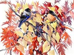 American Robins and Fall Foliage, Original Painting