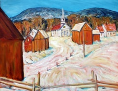 Waits River Church, Vermont, Oil Painting