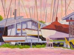 Island Boat Yard, Oil Painting