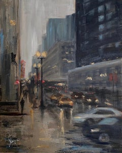 State Street at Dusk, Oil Painting