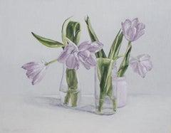 Pale Purple Tulips, Oil Painting
