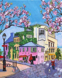 Pink Cafe with Pink Blossom, Original Painting