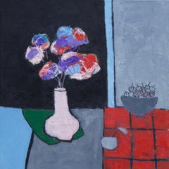 Pink Vase on Green Cloth, Oil Painting