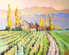 Fall Morning in the Vineyards, Oil Painting