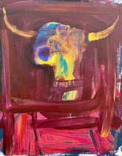 Cow Skull Sunset, Original Painting