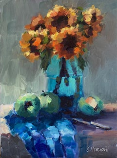 Sunflowers and Green Apples, Oil Painting