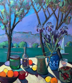 Table on the Bay, with Irises, Oil Painting