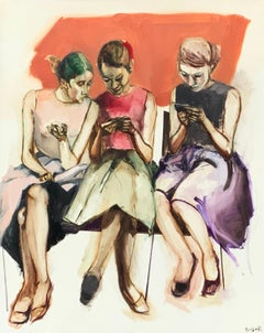 3 Women Texting, Oil Painting