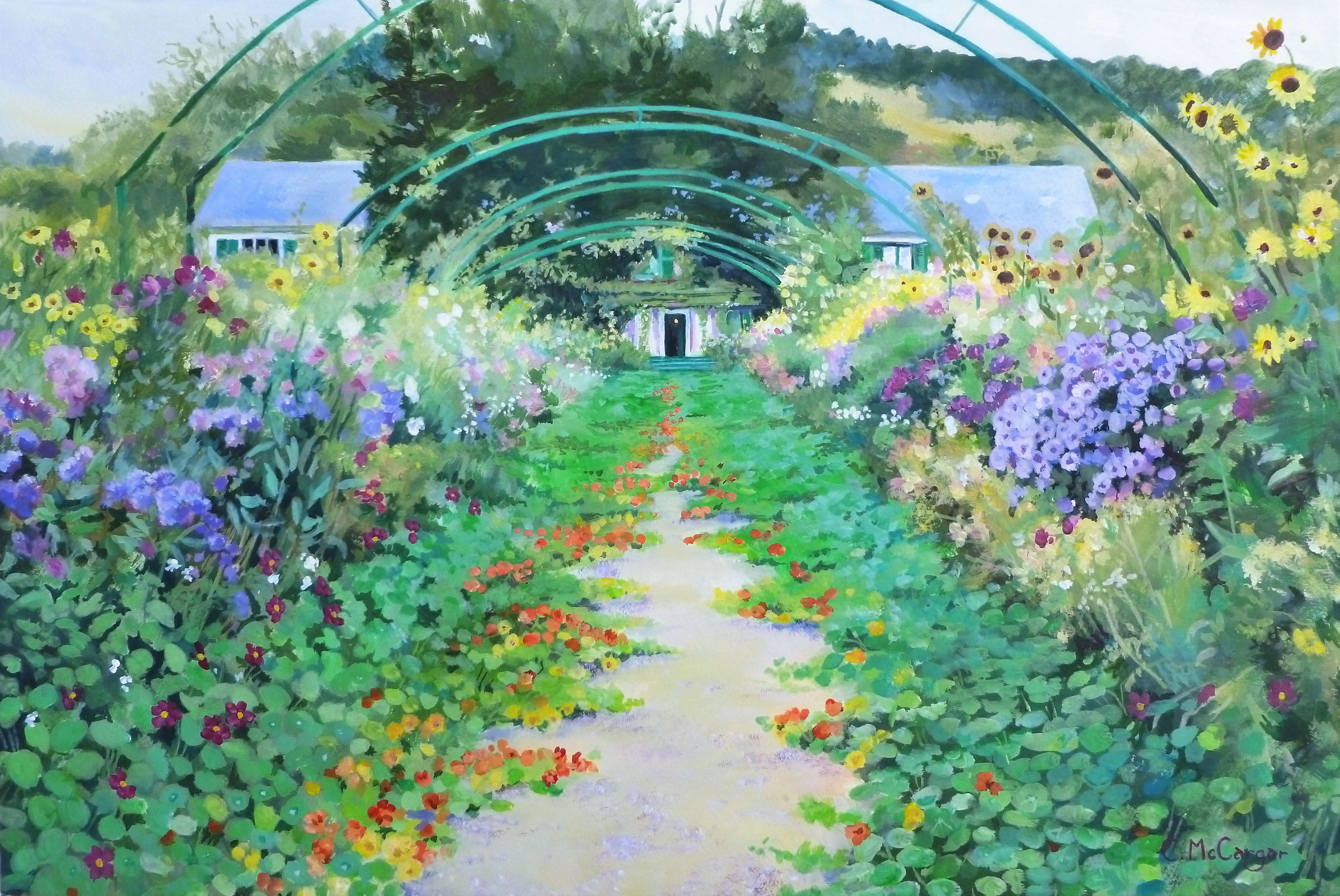 Arched Pathway in Monet's Garden, Giverny, Original Painting