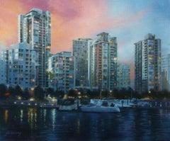 Twilight on False Creek, Oil Painting