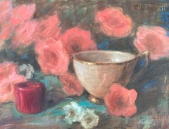 Red, Pink and Aqua, Oil Painting