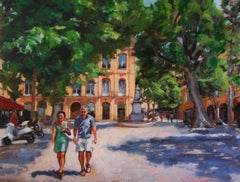 Afternoon Stroll in Provence, Oil Painting