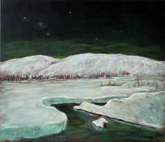Winter Moonlight, Poconos, Oil Painting