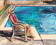 Seated Figure Poolside, Original Painting