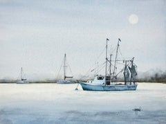 Moonglow Shrimp Boat, Original Painting