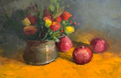 Farmers Market Pomegranates, Oil Painting