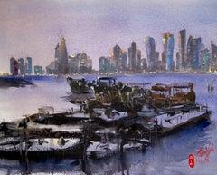 Harbor Boats, Doha, Original Painting