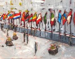 Flags at Rockefeller, Original Painting