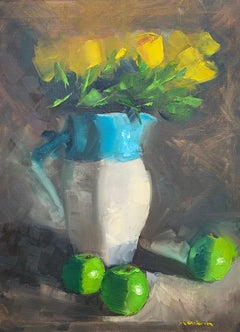 Yellow Roses and Green Apples, Oil Painting