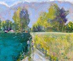 Biking at the Marina, Oil Painting