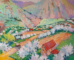 Spring in the Mountains, Tree Blossom, Oil Painting