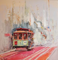Cable Car No. 13 on Powell Street, Oil Painting