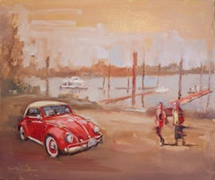 Red VW Bug in a Marina, Oil Painting