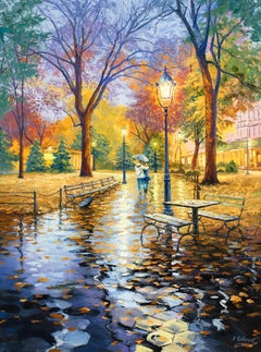 Serene Evening Stroll, Central Park, New York, Oil Painting