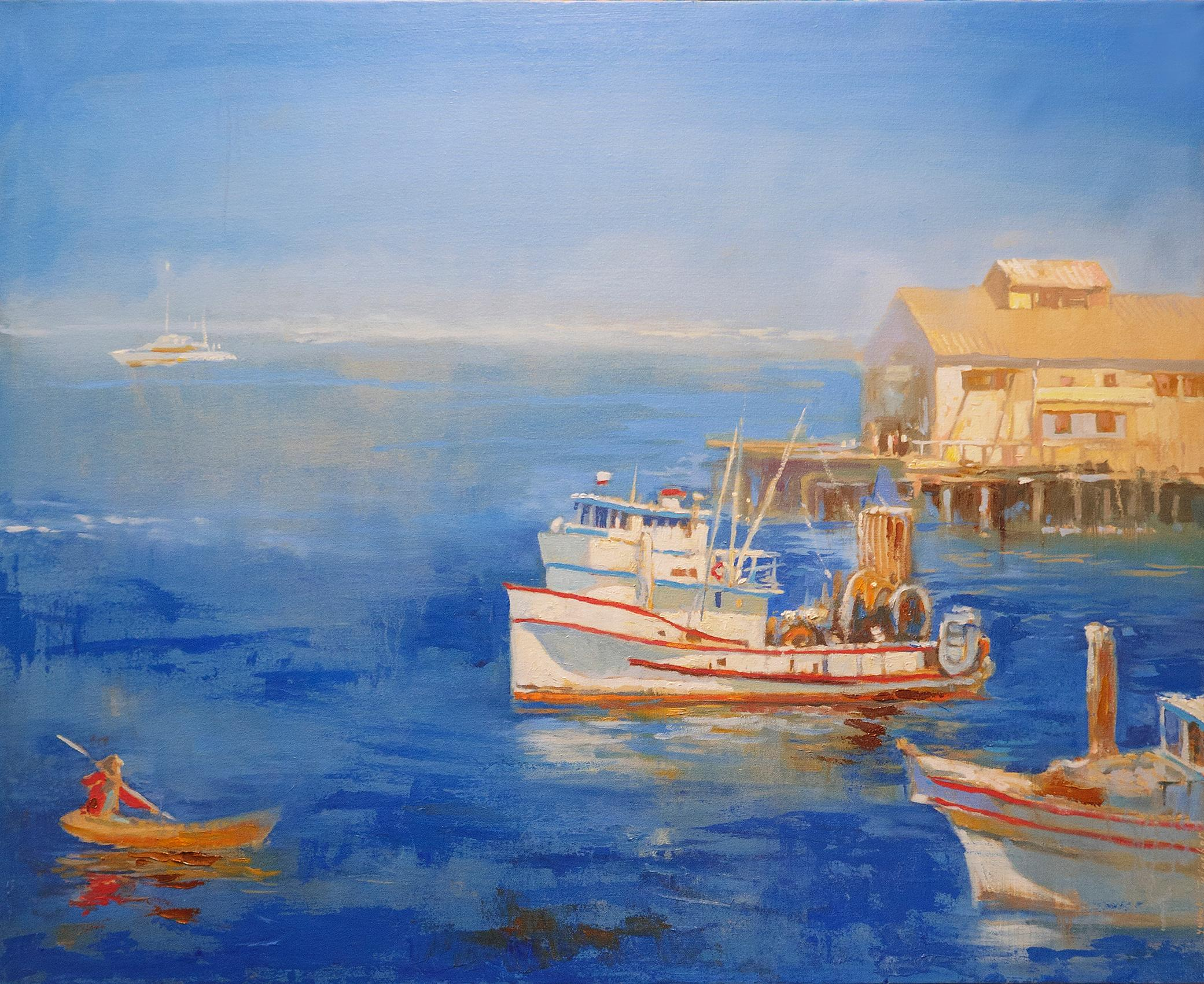 A Fishing Boat in Monterey Bay, Oil Painting