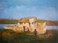 An Abandoned Boat in Inverness, Original Painting