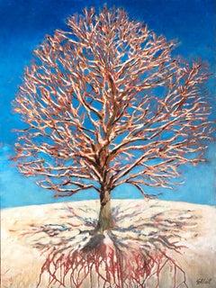 Oak Snow Shadows Roots, Original Painting