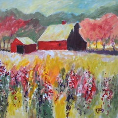 Red Barn near Orchard, Original Painting