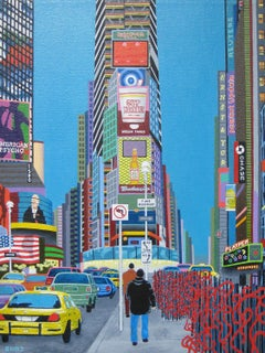 Red Sculptures in Times Square, Original Painting