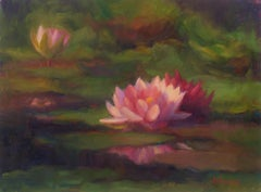 Three Water Lillies, Oil Painting