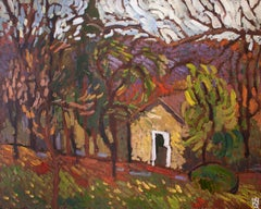 Ancient Cottage among Trees, Original Painting