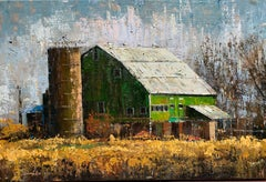Green Barn, Oil Painting
