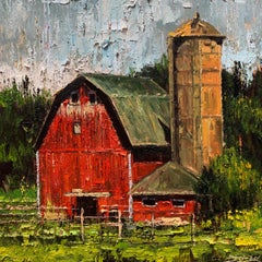 Red Barn 04, Oil Painting