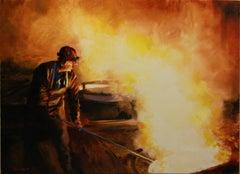 Skimming Slag, Oil Painting