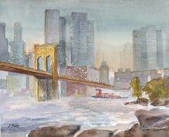 Brooklyn Bridge at Dusk, Original Painting
