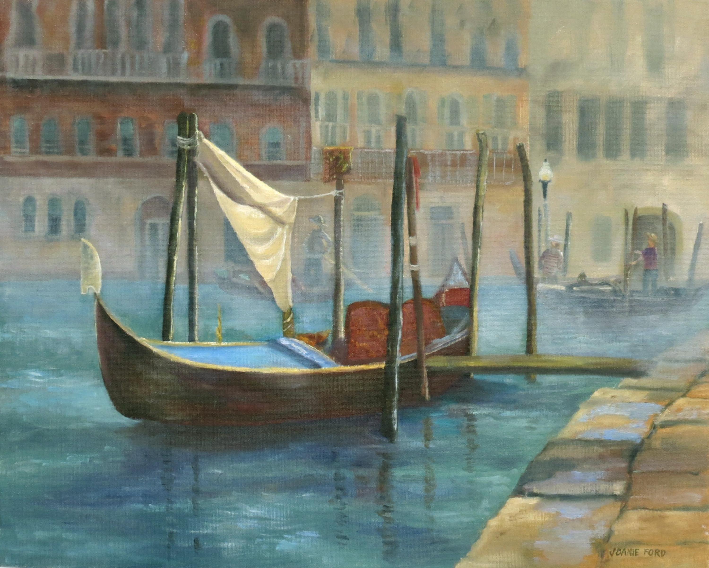 Gondola Waiting for Passengers, Oil Painting