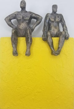 Couple on Yellow Square, Original Painting