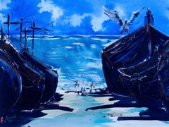 Beached Fishing Boats, Morocco, Original Painting