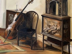 Interior with a Cello, Oil Painting